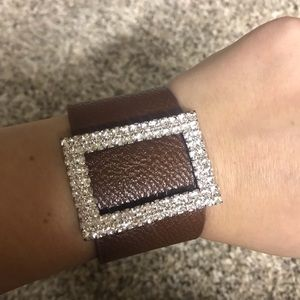 Wrap faux leather bracelet with rhinestones NEW